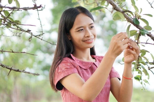 Femme asiatique explorant joyeusement et marchant dans les arbres