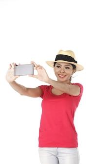 Femme asiatique faisant selfie
