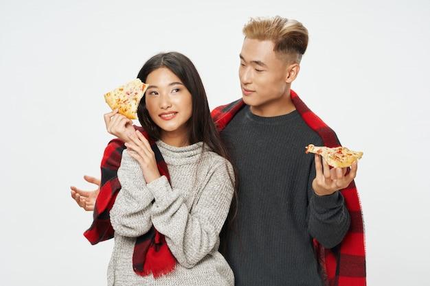 Femme asiatique, et, manposing, modèle, ensemble