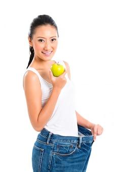 Femme asiatique, perdre poids, à, alimentation