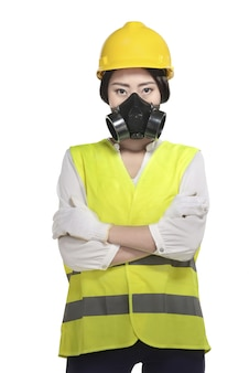 Femme asiatique porter un chapeau et gilet de sécurité