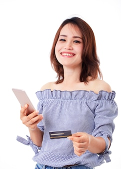 Femme asiatique, smartphone, crédit