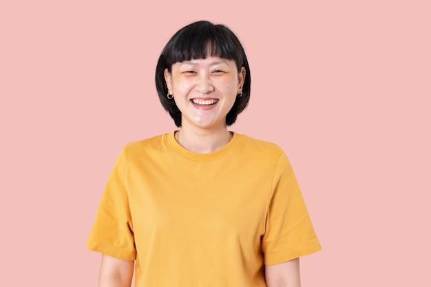 Femme asiatique, sourire, gai, expression, closeup, portrait