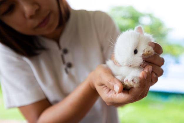 Femme asiatique tenant un bébé lapin blanc à portée de main avec tendresse. amitié avec le lapin de pâques mignon.