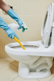 Femme au foyer nettoyant la cuvette des toilettes