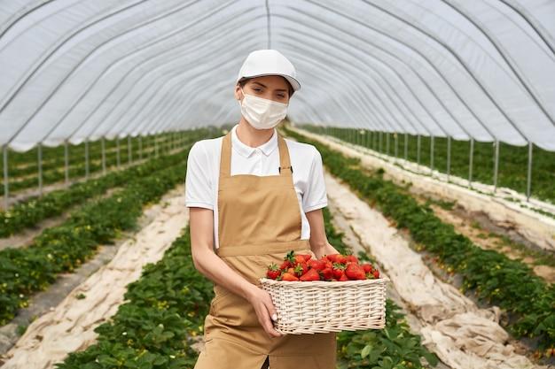 Femme au masque tenant un panier avec des fraises fraîches