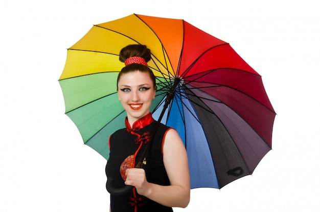 Femme au parapluie coloré isolé