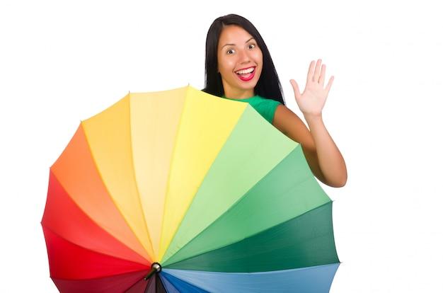 Femme au parapluie isolé sur blanc