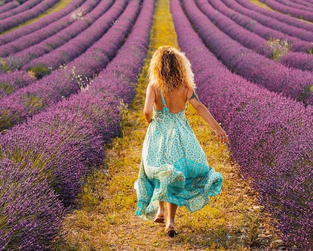 Femme aux cheveux bouclés vêtue d'une robe bleue et marchant dans un champ de lavande violette. vue arrière d'une femme élégante en robe dos nu au milieu d'un magnifique champ de lavande. dos de femme profitant au milieu d'un champ de fleurs