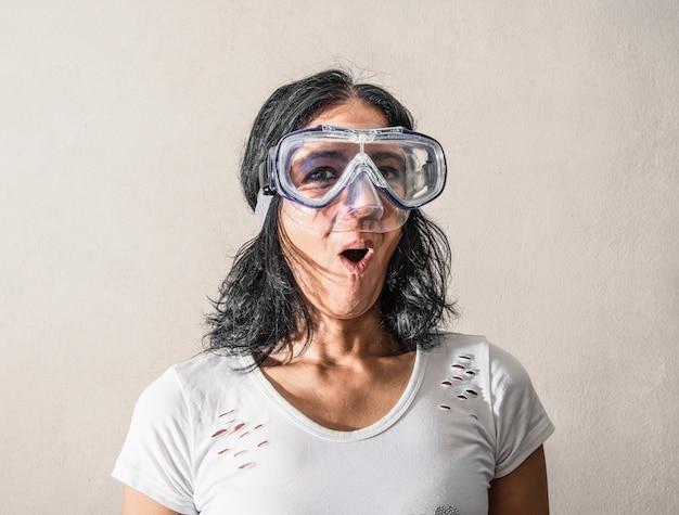 Femme, avoir, masque plongée