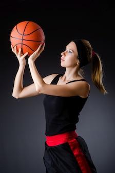 Femme, basket-ball, concept sport