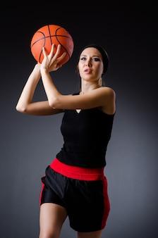 Femme, basketball, concept sport