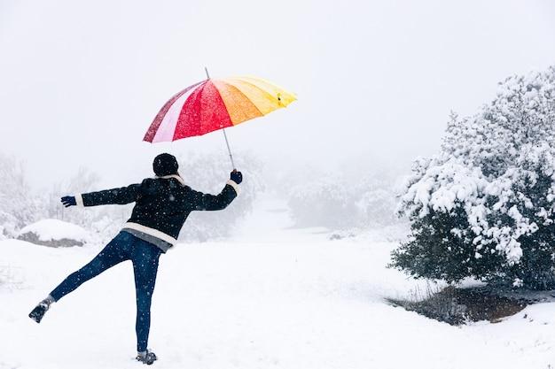 Femme blonde avec un parapluie coloré soufflé par le vent avec son parapluie paysage enneigé.