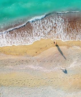 Une femme et un chien marchant le long du rivage de la mer laissant des empreintes sur le sable vertical aérien