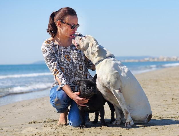 Femme et chiens sur la plage