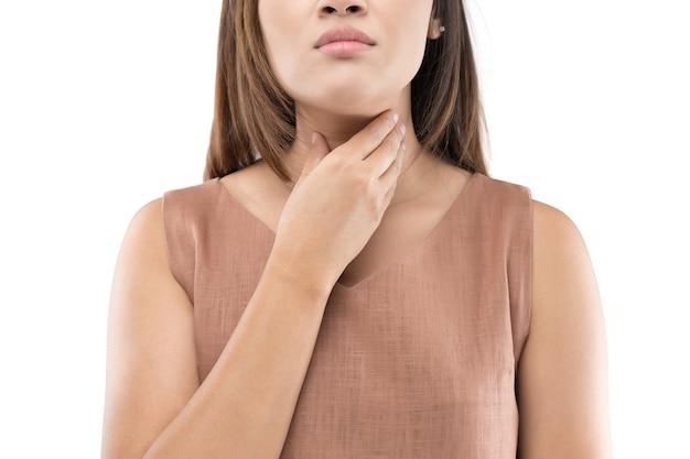Femme contrôle de la glande thyroïde. mal de gorge d'un peuple isolé sur fond blanc