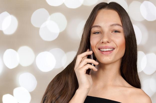 Femme, conversation, téléphone