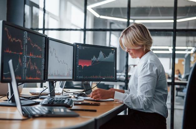 Une femme de courtage en vêtements formels travaille au bureau avec le marché financier.