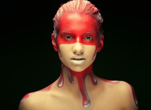 Femme, à, créatif, face-art
