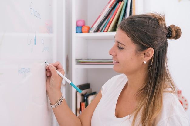 Femme créative faisant une tempête de cerveau sur tableau blanc
