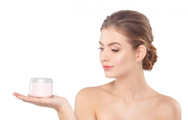 Femme, crème, concept, soin peau