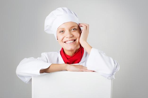 Femme, cuisinier, papier, signe