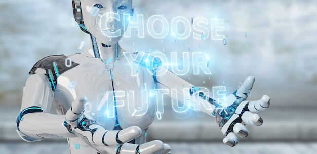 Femme cyborg blanche utilisant une future interface de texte de décision