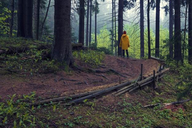 Femme dans un imperméable jaune sur un chemin forestier dans une forêt sombre