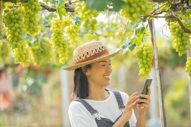 Femme dans le jardin à l'aide de téléphone portable pour prendre des commandes pour son raisin.