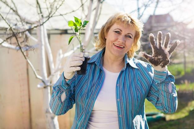 Une femme dans le jardin au printemps avec des fleurs. elle plante des semis. la femme d'âge moyen dans le jardin est heureuse, le soleil brille.