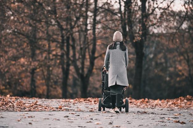 Femme dans le parc d'automne se promène avec une poussette
