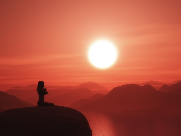 Femme dans une pose de yoga contre un paysage coucher de soleil