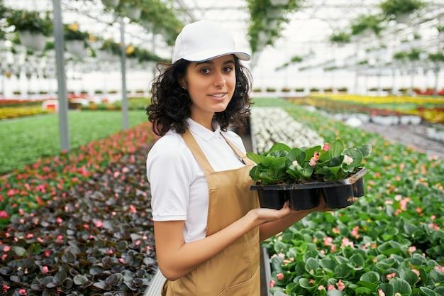 Femme debout à effet de serre avec pot de fleurs dans les mains