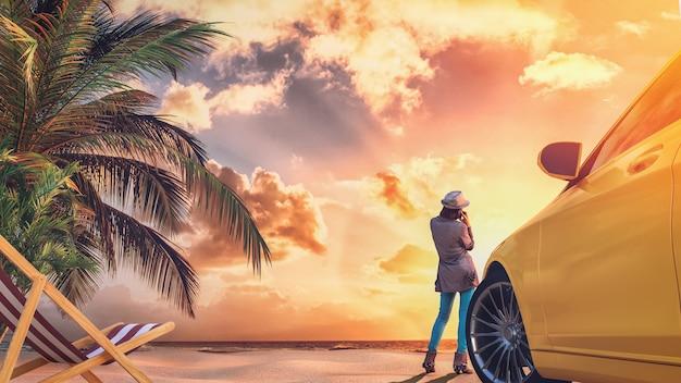 Femme debout sur la plage au coucher du soleil. rendu 3d et illustration.