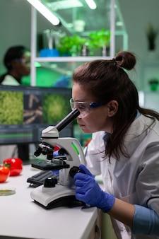 Femme de docteur de chercheur de biologiste analysant l'échantillon de feuille utilisant le microscope médical