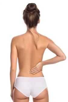Femme, à, douleur inférieure, dos