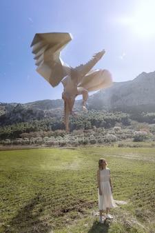 Femme avec dragon 3d illustré