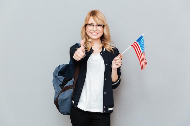 Femme, à, drapeau