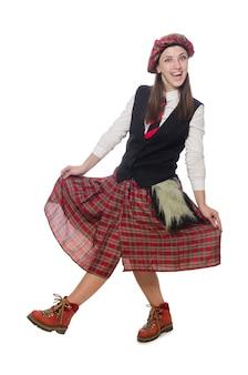 Femme écossaise isolée sur fond blanc