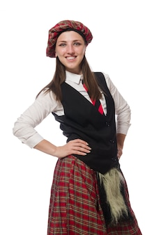 Femme écossaise isolée