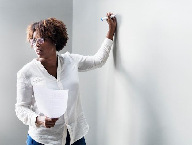 Femme écrivant sur un mur blanc