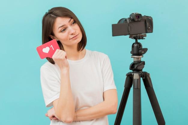 Femme, enregistrement, personnel, blog, maison
