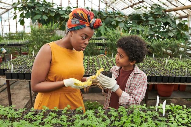 Femme enseignant au garçon à planter des semis dans le jardin