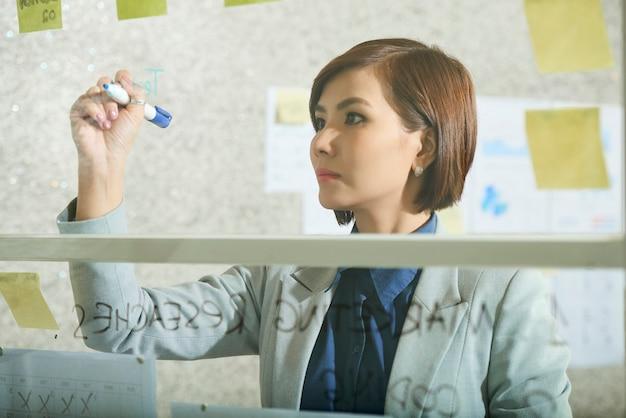 Femme entrepreneur sérieuse et pensive écrivant sur le mur de verre du bureau lorsqu'elle se prépare pour la réunion