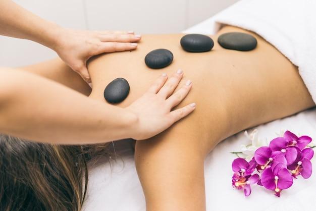 Femme, faire, massages, beauté, salle