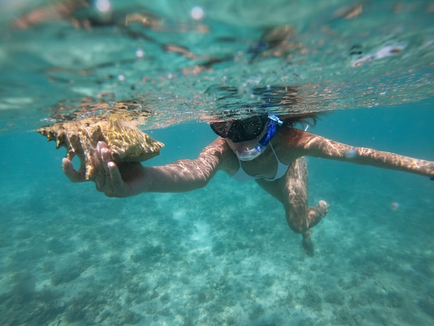 Femme faisant de la plongée avec masque et tuba sous l'eau avec coquillage. concept de mode de vie sain et de loisirs.