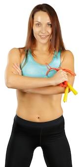 Femme fitness sur blanc