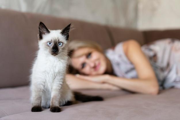 Femme floue de plan moyen et chat mignon