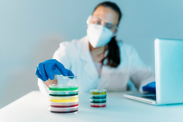 Femme, fonctionnement, petri, plats, laboratoire