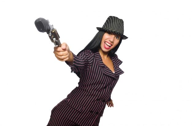 Femme de gangster avec arme à feu isolé sur blanc